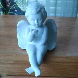 White Bisque Shelf Sitting Angel